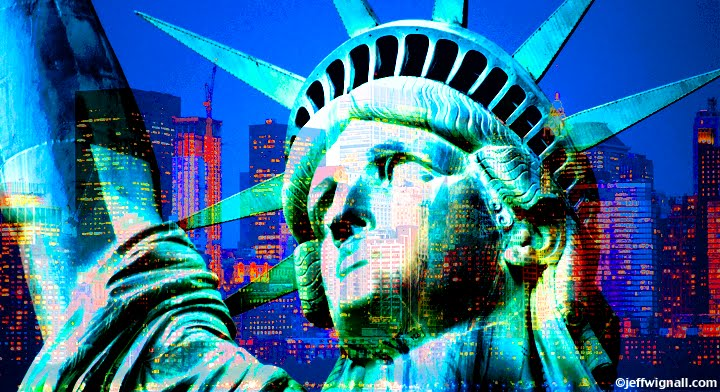 Miss Liberty and Manhattan Montage by Jeff Wignall