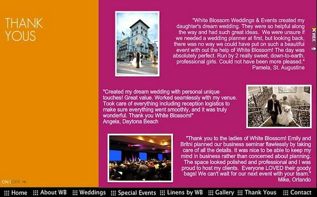 White Blossom Wedding and Events' website was created with a Wix.com Flash template