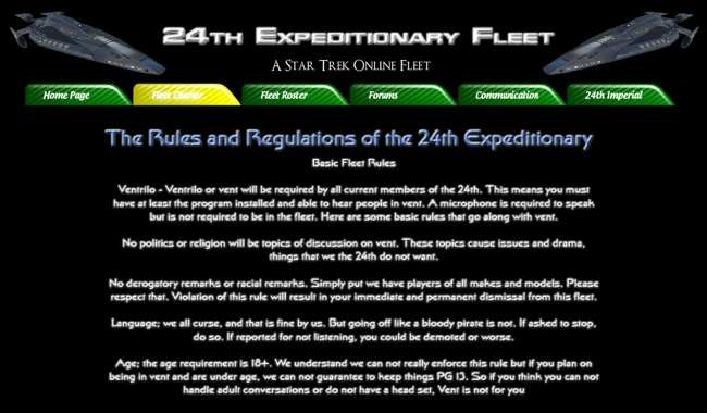 Wix Website of the 24th Expeditionary Fleet