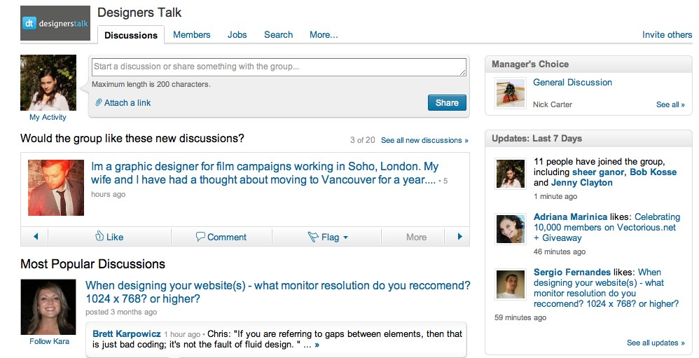 group profile on LinkedIn