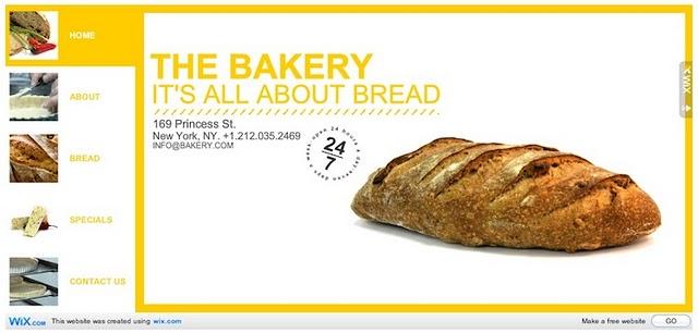 Bakery Site Wix.com Flash Template