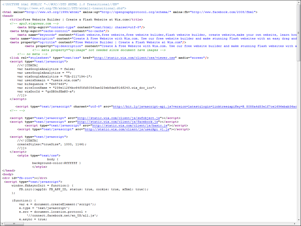 HTML Source Code of www.wix.com