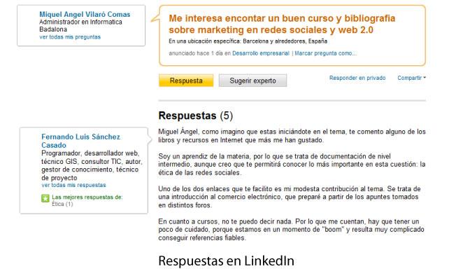 Respuestas en LinkedIn