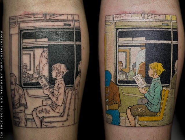 Artistic tattoo, inspired by Adrian Tomine