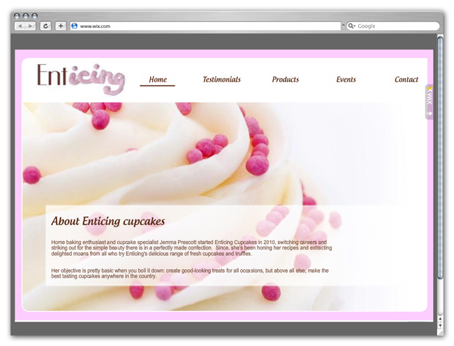 Wix Website Showcase: Enticing Cupcakes