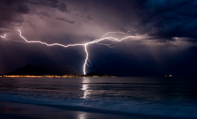 Lightning over Table Bay, Cape Town