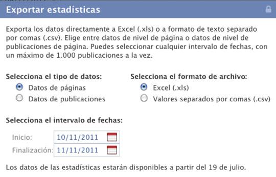 Exportar estadísticas de Facebook