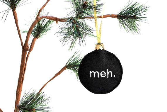 meh black felt Christmas ornament