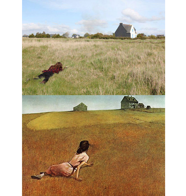 """Christinas World"" by Andrew Wyeth, remade by Daryl Seitchik"