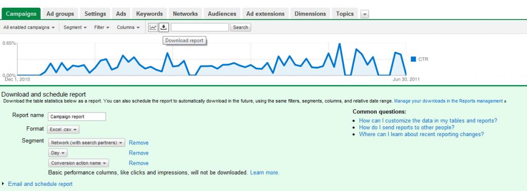 Screenshot de la interfaz de Google Adwords