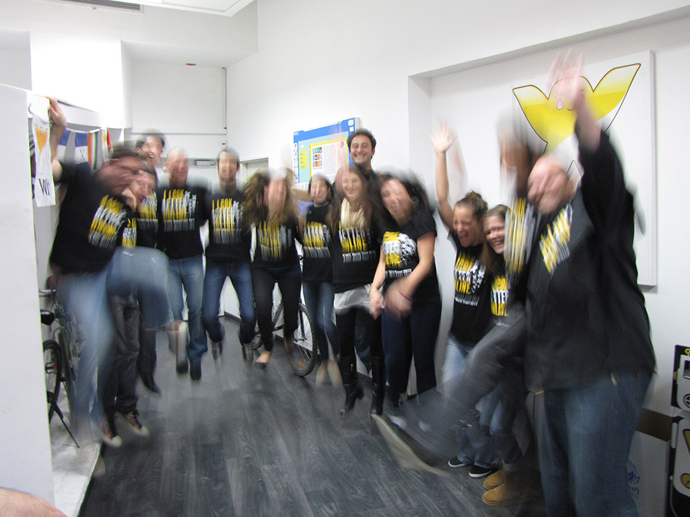 Wix Employees jumping with joy