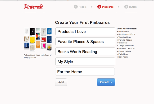 Pinterest sign up - Creating your own boards