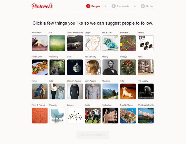 Pinterest sign-up