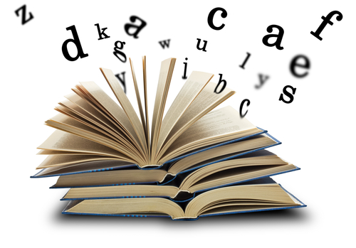 book open with letters