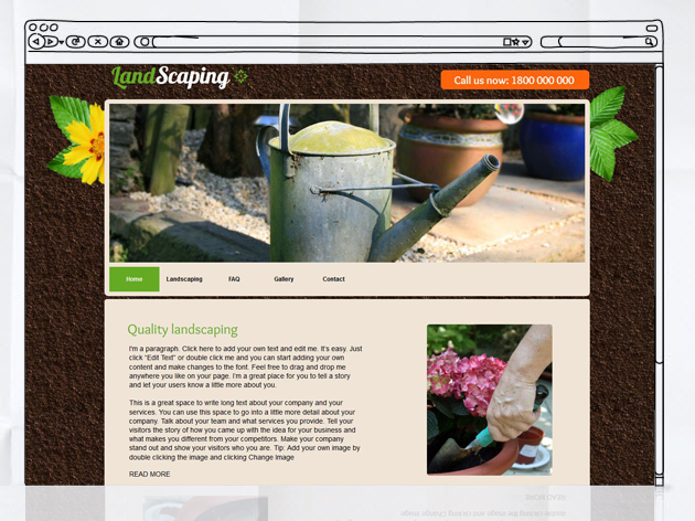 Choosing a Template with Large Header - Landscaping Template