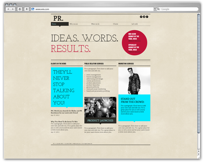 wix Public Relations template