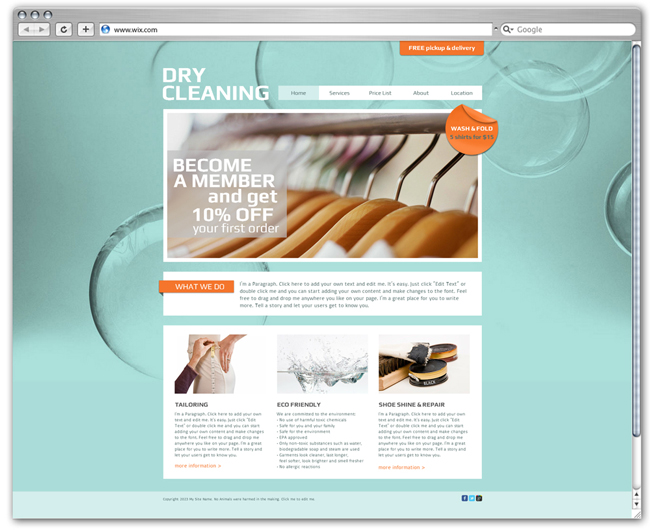 wix Dry Cleaning Template