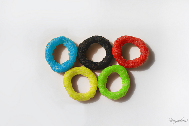 The Olympic Rings Recreated with onion rings
