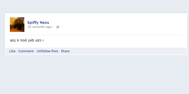 Write upside down Facebook posts