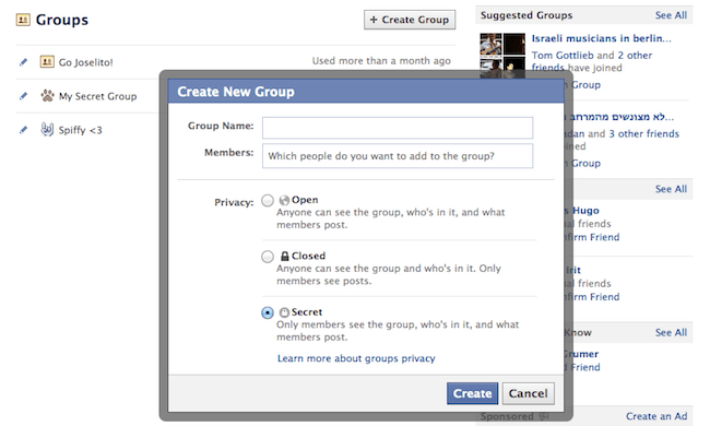 Create a secret Facebook group