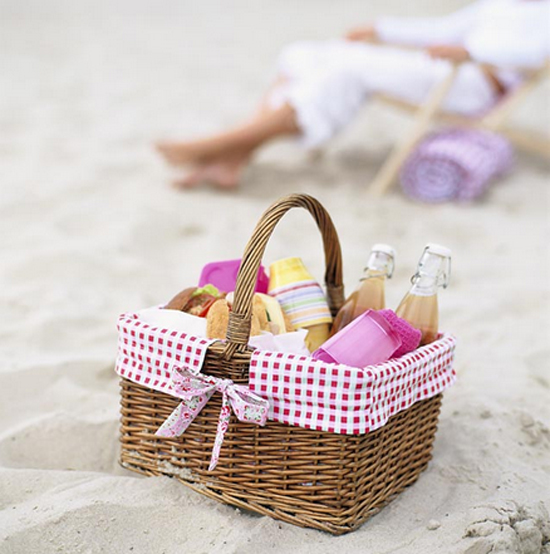 Picnic basket on the beach