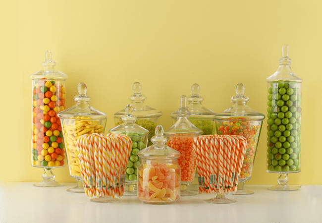 candies in big jars