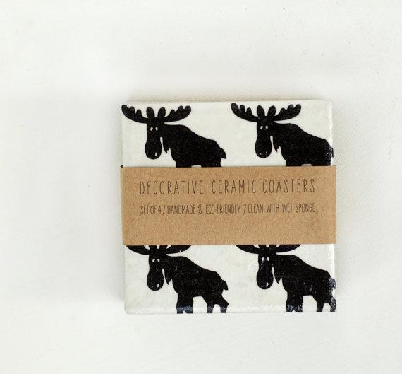 Christmas Coasters Scandinavian Moose Black and White