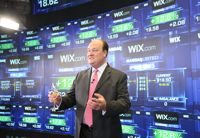 VP at NASDAQ OMX, David Wicks, delivering an official welcome message to Wix
