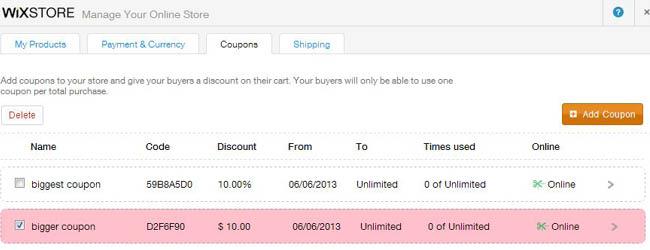 Wix discount coupon