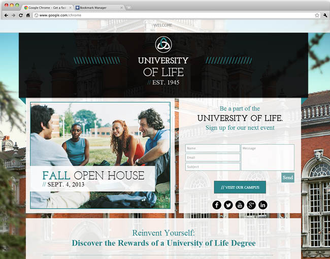 University Landing Page Template