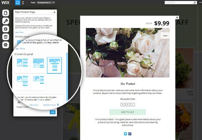 New product page layouts