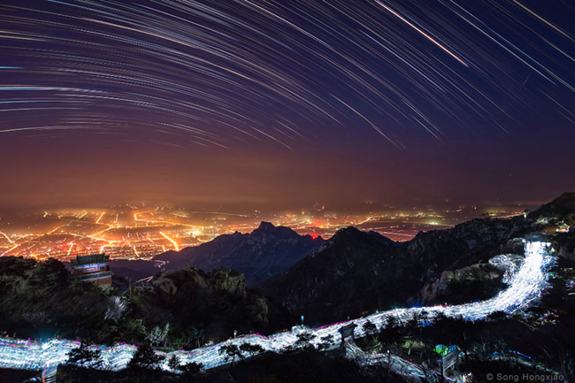 Star's Lights Up in the Sky of Mount Tai, China by Song Hongxiao