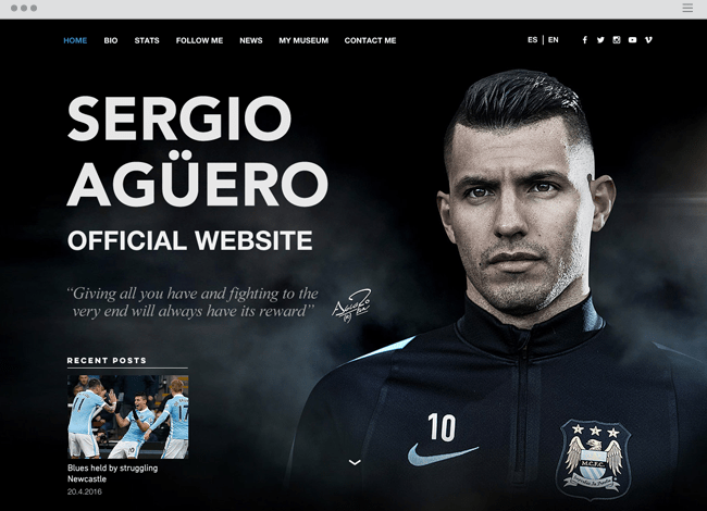 Sergio Aguero Official Wix website