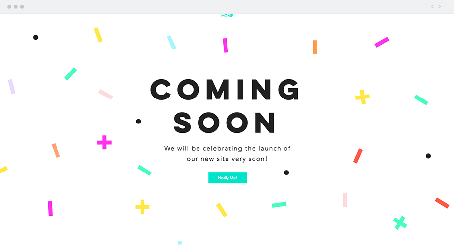 Coming soon page template