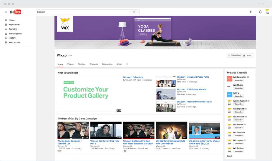 Wix YouTube Cover Photo