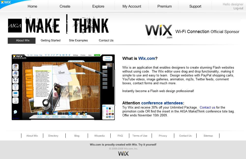AIGA Make|Think Design Conference landing page