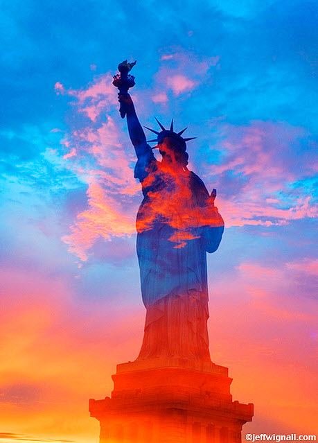 Statue of Liberty & Sunset Montage By Jeff Wignal