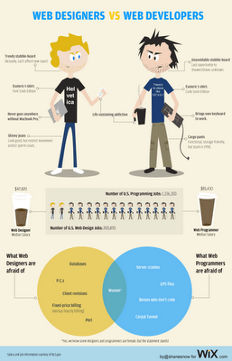 Wix Web Designer vs. Web Developer Infographic