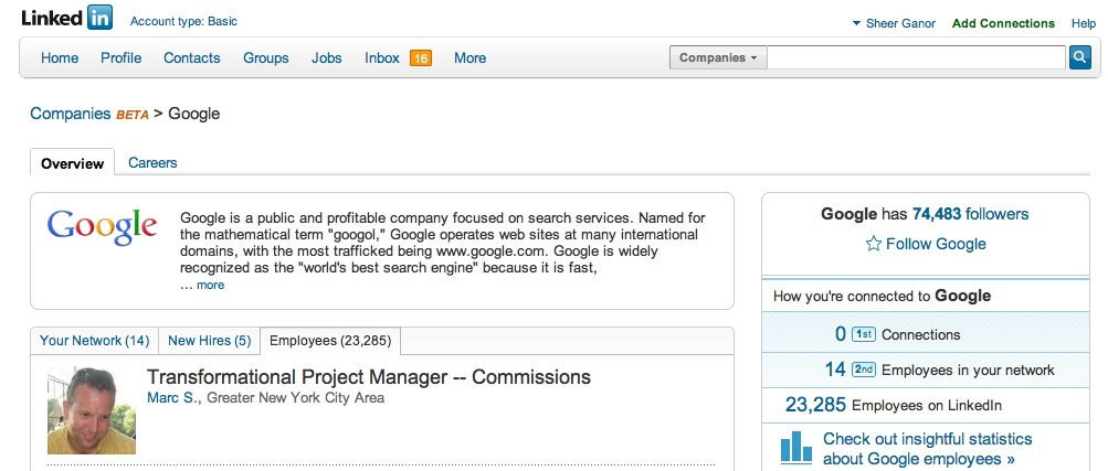 Company page on LinkedIn