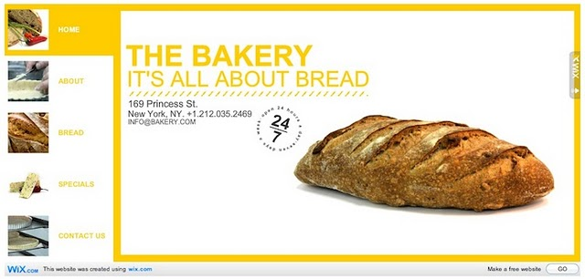 Bakery Site Wix.com Flash Template