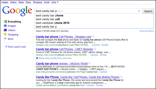 Google Instant - Search Results 2