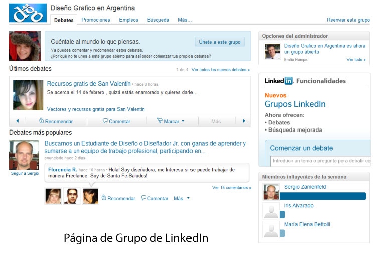 Página de Grupo en LinkedIn