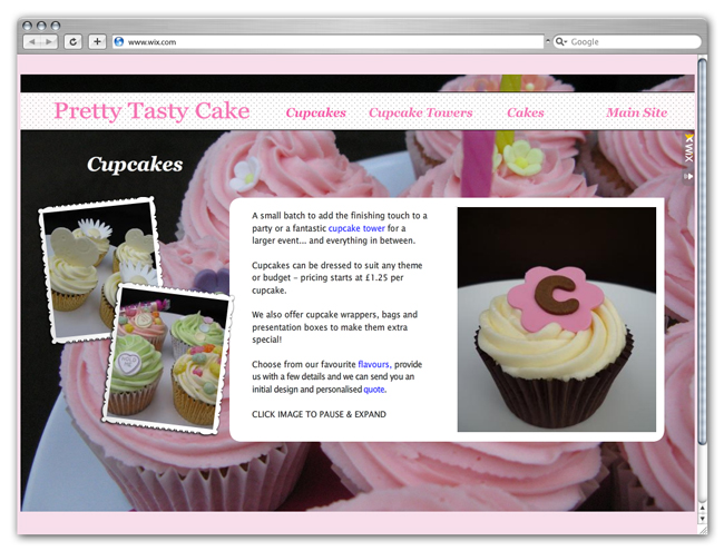 Wix Website Showcase: Pretty Tasty Cake
