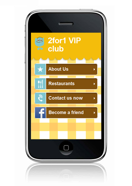 Wix Mobile Showcase: 2for1 VIP Club