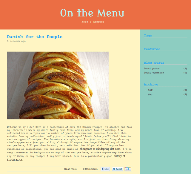 Blog On the Menu