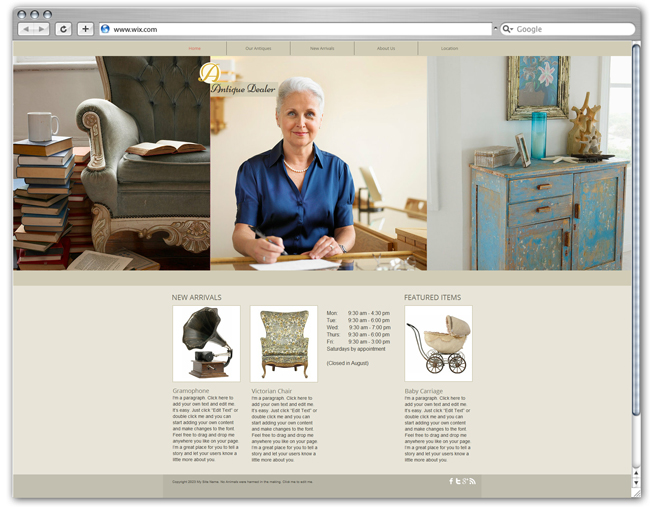 wix Antique Dealer template