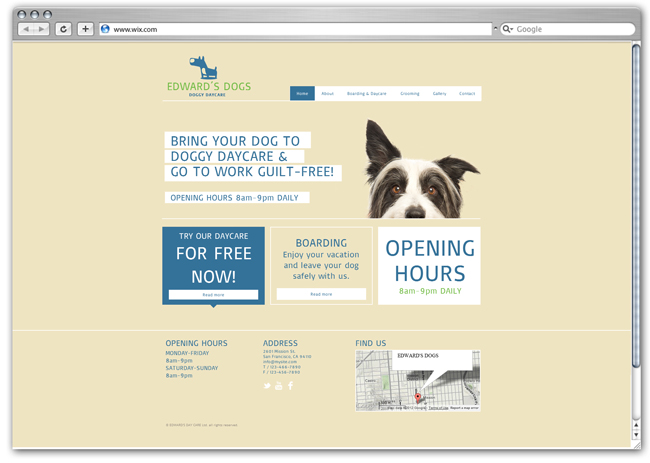 wix Dog Day Care template
