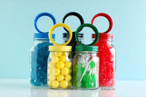The Olympic rings recreated with candy jars
