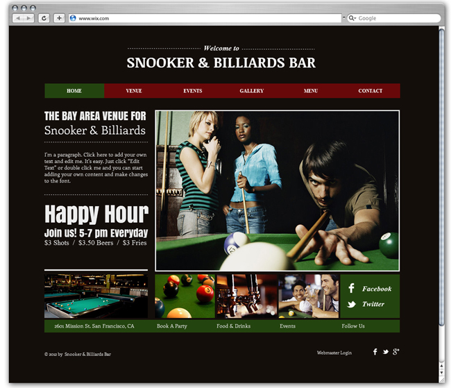 Wix HTML5 Snooker and Billiards Bar Template