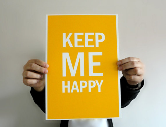 Typography Art Print Keep Me Happy in Mustard Yellow